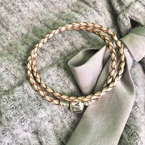 Pandora champagne leather bracelet
